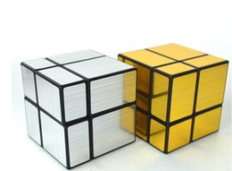 2017 Hot Sale Shengshou Mirror Magic cube Ultra-smooth Professional 2x2x2 Speed Cube Puzzle blocks bumpTwisty cube Gold Silver free shipping