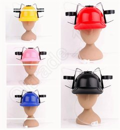 Wholesale LJJL239 Creative Beer Soda Drinking Hat Game Party Helmet Novelty Gift Fun Summer Cool Cap