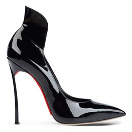 Wholesale Celeb style pointed toe Iron roots shoes women pumps high heels patent leather party dress office shoes size Us