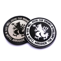 Wholesale 50 Navy Seals God Will Judge Our Enemy Army Usa Military Tactical Morale Badge Embroidered Patches Fabric Armband Stickers
