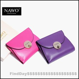 NAWO 2016 Candy Color Genuine Leather Women Wallets Purses Female Button Short Wallet With Coin Pocket Ladies Mini Wallets