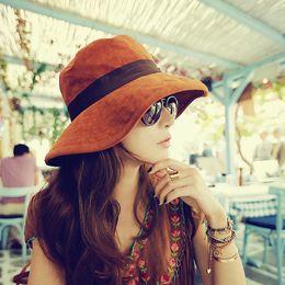 Wholesale Large Sun Shades Outdoor - Wholesale-2016 New Retro wide-brimmed hat Anti-uv large sun-shading hat women's autumn beach bucket hat outdoor sunscreen sun hat