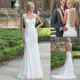 Wholesale Lace Sheath Wedding Dresses Sweetheart Illusion Back Bridal Gowns Online Store Affordable Sexy Dress For Brides