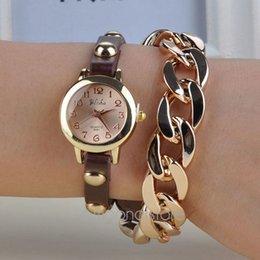 Wholesale Ladies Bracelet Watch Fashionable - Wholesale-Korean fashionable ladies exaggerated style chain bracelet watch students watch Rivet & Chain Style