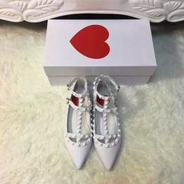 hot! U289 34 white genuine leather v stud strappy flats shoes pointy luxury designer runway celeb fashion women 2016