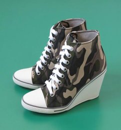 Wholesale Ash Women s Thelma Canvas Wedge Sneakers Camouflage Lace Up Ankle Boots Fashion Trainers Canvas On Hot Sale Tide Casual Sport Shoes