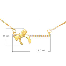 925 Silver Style CZ Copper Necklace With 1.5lnch Extender Chain Bowknot Plated More Colors For Choice 24.5x11mm Length:21 Inch 1PC