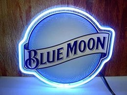 Wholesale Brand BLUE MOON REAL GLASS NEON LIGHT BEER BAR PUB SIGN SIZE quot quot quot quot