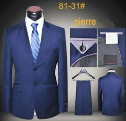 Royal blue suits men luxury wool latest coat and pants business uniform slim fit working blazers