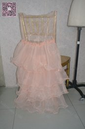 2016 Romantic Orange Chair Sashes Organza Ruffles Covers Cheap Beautiful Wedding Decorations Elegant Wedding Supplies C016