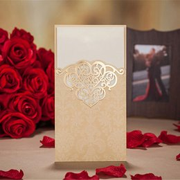Gold Laser Cut Luxury Wedding invitation cards Hollow Foil Stamping Uneven Best with envelopes, seals, custom personalized printing