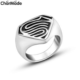 Wholesale 316L Stainless Steel Antiqued Black Superman Ring High Polished Punk Mens MC Biker Rings Size to R728