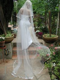 New Elegant Satin Edge Two Layers With Comb Lvory White Wedding Veil Cathedral Bridal Veils 3M Length