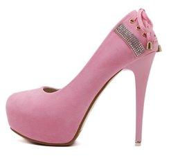2017 taille 34 talon rose Pompes 12cm douce dentelle bowtie rose plateforme haut talon haut des femmes de bal chaussures habillées taille 34 à 39 taille 34 talon rose ventes