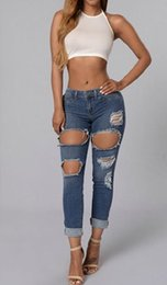 New 2016 Fashion Women Plus Size Vintage Holes Ripped Jeans Denim Blue Jeans Pants Casual Europe Pencil Skinny Jeans Feminono