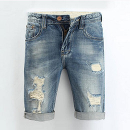 Wholesale-Men Jeans 2016 Summer Casual Men Jeans Shorts Hole High Quality Fashion Knee Length Ripped Jean For Men Brand Pants Shorts