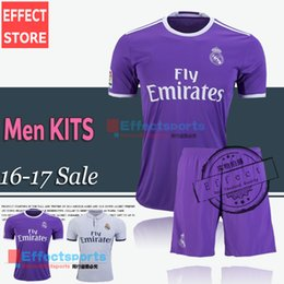 Wholesale 2017 Real madrid Men Set soccer Jerseys RONALDO home white away Purple kits JAMES BALE RAMOS ISCO football shirt with shorts