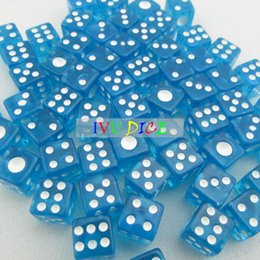 Wholesale 100pcs MM side Dice Transparent BLUE with WHITE point automatic mahjong game KTV party machine dice IVU