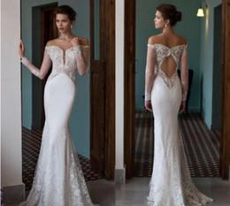 Riki Dalal Stunning Mermaid Sheer Long Sleeves Wedding Dresses Vestidos De Noiva Bateau Lace Appliqued Chiffon Keyhole Back Bridal Gown