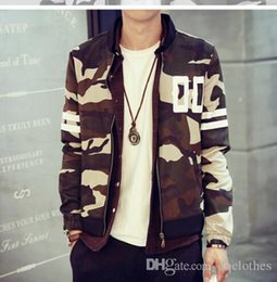 Coton ouaté korean veste de baseball à vendre-Nouvelle Collection Men Camouflage Baseball Jacket hoodies minces automne Top qualité coréenne mince Camo Baseball Jacket Sueurs Casual