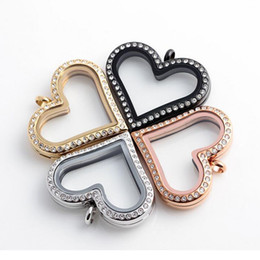 Top Grade 30mm 316 Stainless Steel Heart Floating Locket Glass Frame Memory Floatings Charms Lockets Pendants Jewelry Wholesale 0073KLF