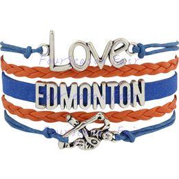 Custom-Infinity Love National Hockey League Edmonton Oilers Bracelet Ice Hockey Player Fans Adjustable Bracelet Bangles-Drop Shipping