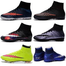 Wholesale Cheap Ronaldo Football Boots - Men Kids Soccer Cleats Boys Mercurial Superfly CR7 FG TF Children Cheap Soccer Shoes Cristiano Ronaldo Youth Womens Turf Football Boots