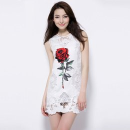 Summer star with a fashion large size women slim sleeveless vest rose floral hollow skirt female Ma Jiaqun