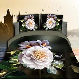 Impression poly à vendre-Housse de lit limitée 4 pcs pleine comme image Home Feuille de lit 2016 Nouvelle arrivée 3d unique impression florale poly / coton 4 couvertures de housse de couette