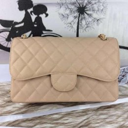 Wholesale Fab Price Large Classial CM Maxi Jumbo Quilted Chain Apricot Beige Caviar Leather Double Flaps Fashion Shoulder Bag Gold Silver Hw