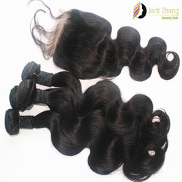 8A 100% Vietnamese Hair Bundles Natural Black Body Wave 3pcs Mixed Hair Weave With 1pc Lace Closure Tangel Free Human Hair Extension Dyeable