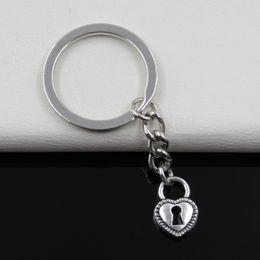 Wholesale Fashion diameter mm Key Ring Metal Key Chain Keychain Jewelry Antique Silver Plated padlock heart key mm Pendant