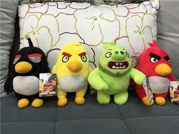 Wholesale Stuffed Black Pig - 20cm Angry Birds Plush Toys Yellow Red Black Bird Green Skin Pigs Plush Toys Cartoon Stuffed Animalsl For Children Kids