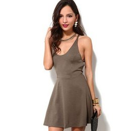 Wholesale Europe And The New Dark Brown Polyester Tape Fashion Sexy Backless Waist White Jumpsuit Skirt S M L XL XXL B