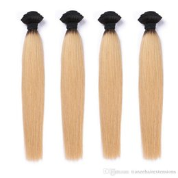 4 Bundles Ombre Brazilian Virgin Human Hair Straight T1B 613 Soft and Wavy Human Hair Weave Extensions Double Weft No Tangle 12-28 inch