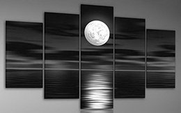 Sea White Full Moon in the Night 100% Hand Painted Modern Abstract Landscape Artwork Oil Paintings on Canvas Wall Art for Home Decor
