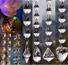 Wholesale Acrylic Crystal Bead Garland Strand mm Bead Chains Drop Pendant Wedding Props Centerpiece Manzanita Tree Curtain Decoration Hanging Decor
