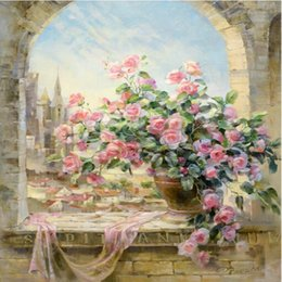 Hot Selling Frameless Pictures Painting printed oil painting Home Decoration Window Flowers Scene 40x50 Free Shipping