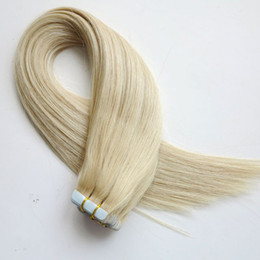 50g 20pcs Tape in Human Hair Extensions 18 20 22 24inch #60A color Adhesive Skin Wefts PU Tape human Hair
