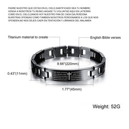 "2016 Fashion Religious Bible Lords Prayer Cross Smooth Titanium Steel Black Men's Bangle Bracelet Cuff Link Wrist Chain, 8.66"""
