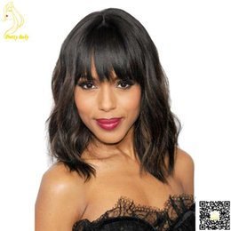 Mongolian Short Bob Human Hair Full Lace Wigs Short Bob Natural Wave Lace Front Human Hair Wig with Bangs for Black Women