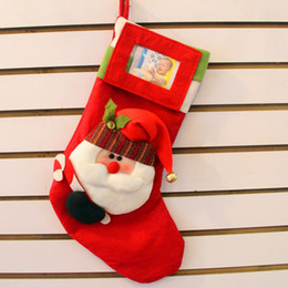 Wholesale New designer dimenson carton santa clause christmas candy gift bags stocking can put in lovers photos new year decoration