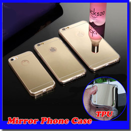 Mirror case Electroplating Chrome Ultrathin Soft TPU Phone Case Cover For iphone 5S 6S 6plus