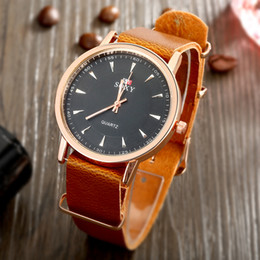 Wholesale Cheapest Casual Watch - Men new fashion popular brand leather Strap male black watches face leather belt quartz watches casual wristwatches cheap Free Shipping
