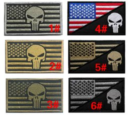 Wholesale 3 inch D Embroidered Pacth with magic tape Punisher American Flag Outdoor Army Armband patch Sew On Patch spersonality VP