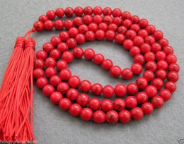 Wholesale 2016 hot buy pearl jade bracelet ring earring necklace Pendant gt gt gt Asia tibetan Red Coral mm Beads Buddhist Prayer Necklace MaCKLACE quot