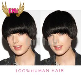 Wholesale Celebrity Real Hair Wigs - Cheap Short Straight Human Hair Wigs Glueless Full lace Front Bob Wig For Black Women Celebrity Human Real Hair Short Cut Wigs Hot Sale