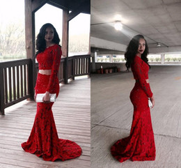 2016 Black Girls Two Pieces Red Mermaid Prom Dresses Jewel Neck Long Sleeves Lace Appliques Beads Sequins Formal Evening Gowns Custom Made