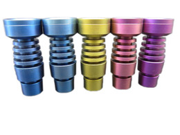 DHL free The latest colorful Plating 14 19mm male or female Domeless GR2 Titanium Nail for glass water bongs in stock