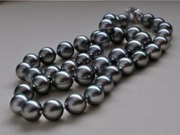 Stunning 10-11mm south sea round black blue pearl necklace 18inch 14k gold clasp